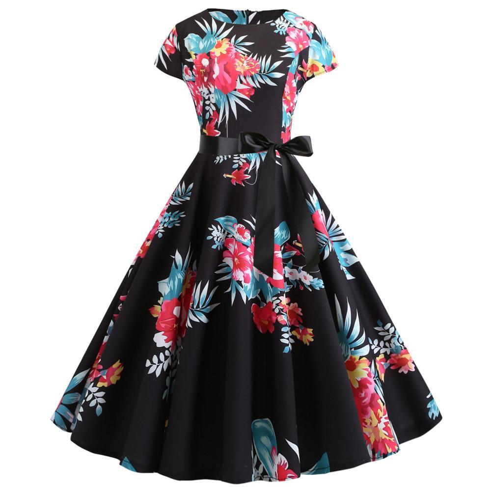 # JY13742 Blumenmuster Kwaii O-Ansatz kurze Hülse Rückenreißverschluss Damenbekleidung kausales retro A-Linie Pendel Kleider