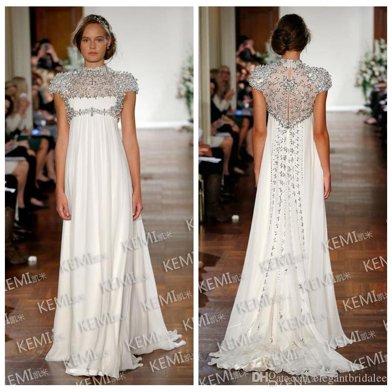 High Neck Short Sleeves Bling Bling Crystal Beaded Wedding Dresses Chiffon Long Bridal Gowns 2020 Formal Sweep Train Long Vestidos De Mariee