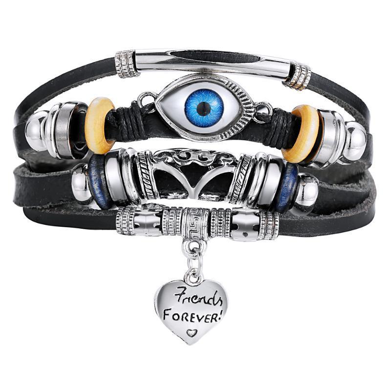 Браслет панк дизайн турецкий глаз браслеты для мужчин женщина модный браслет женский кожаный браслет каменные винтажные украшения