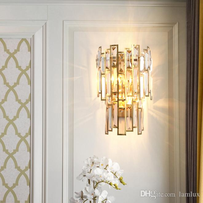 New design contemporary luxury W 23cm x H 38cm crystal wall lamps living room corridor bedside gold finish led wall sconces lights