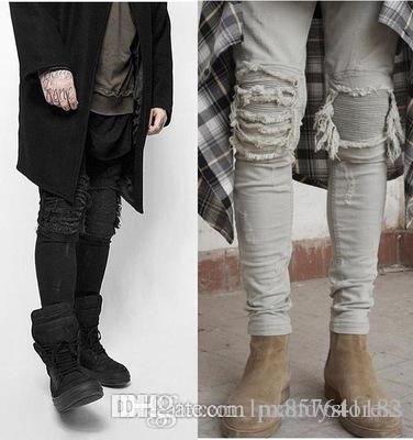 Узкие джинсы Мужчины Ripped Белый Черный Тонкий Stretch Hole Проблемные Мужские Байкер Джинсы Medium Wash Streetwear Hip Hop Брюки Jogger