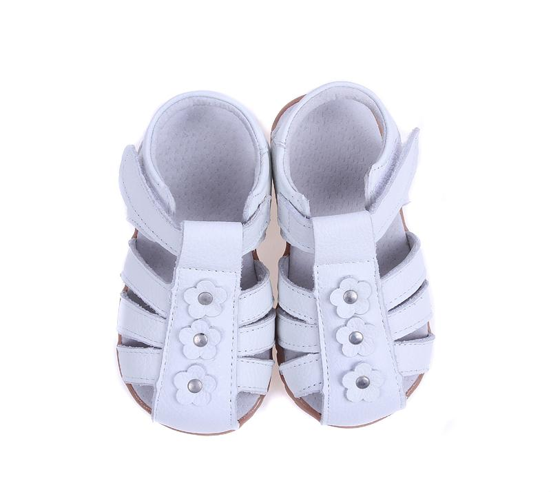 girls sandals genuine leather toddler shoes red pink white closed toe summer flowers fashion durable quality SandQ baby CX200704
