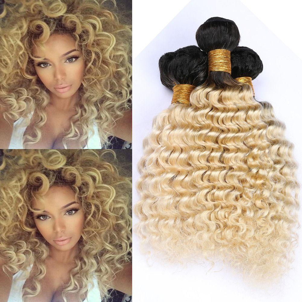 Blonde Ombre onda profunda brasileña del cabello humano de la armadura de paquetes # 1B 613 ofertas de raíces oscuras Ombre rubia Virgen trama del pelo de las extensiones onduladas 4 Bundle