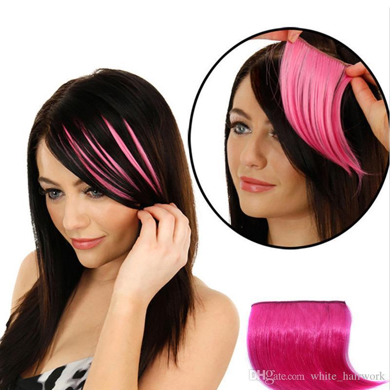 Бесплатная доставка Оптовая челка pick-dye постепенное изменение реалистичные бесшовные патч разъем волос цвет волос прямые волосы патч