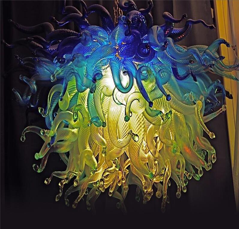 Salon italien Blown Lustres en verre italien de design de verre Pendentif Lampes LED pour Décoration de Noël Source de lumière