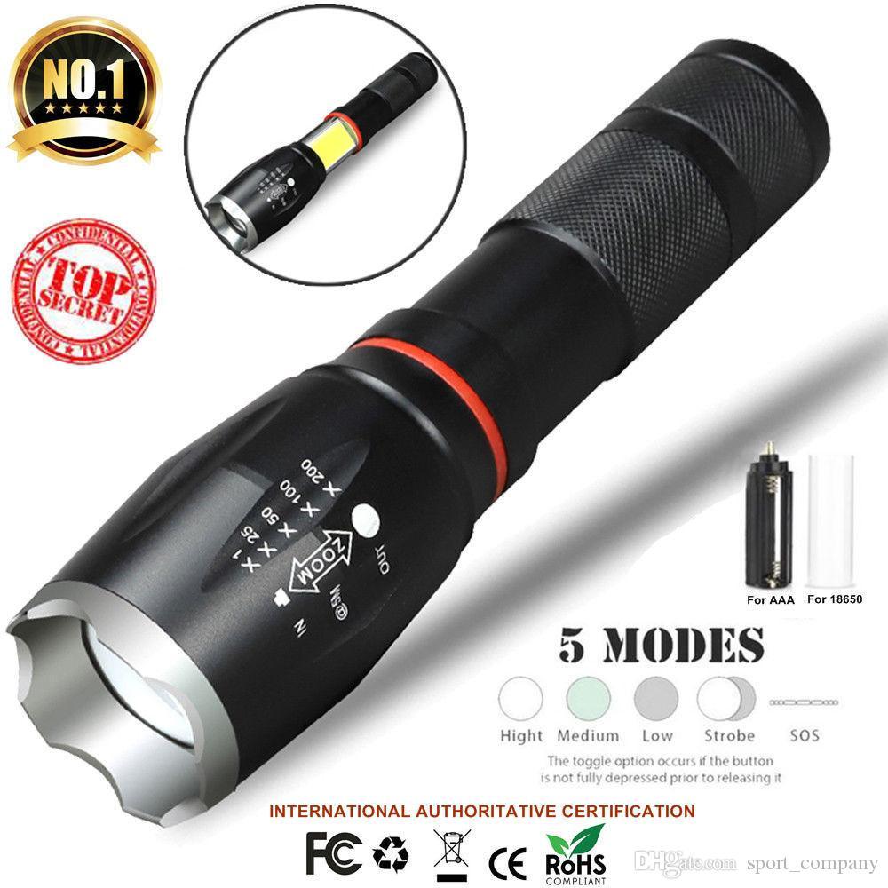 handheld feu avec zoom torche de tactique rechargeable cob lampe lampe del