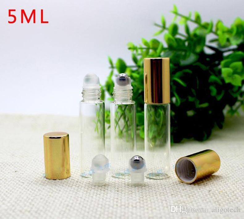 Оптовая 1100pcs 5мл Clear Roll On Roller бутылки для стекла Эфирные масла Roll-On Refillable Духи бутылки с золотой крышкой Бесплатная доставка DHL