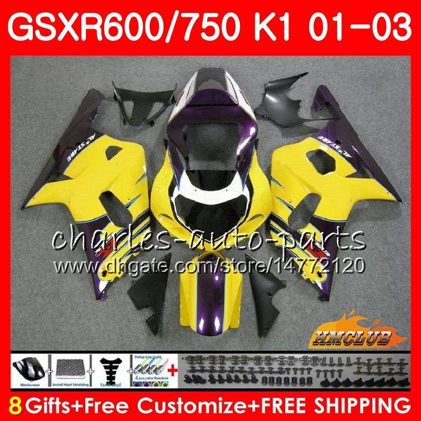 Amarelo Roxo Corpo 8Gifts Para SUZUKI GSXR600 GSX R750 K1 GSXR-600 GSX-R750 4HC.63 GSXR750 GSXR 600 750 01 02 03 2001 2002 2003 kit de Carenagem