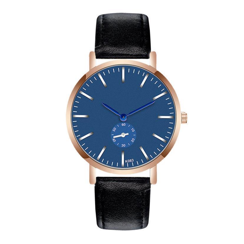 1Fashion Man Cristal En Cuir Analogique Quartz Montre-Bracelet Relogio Masculino 2019 Nouveaux Hommes Horloge De Sport Analogique Quartz Montres