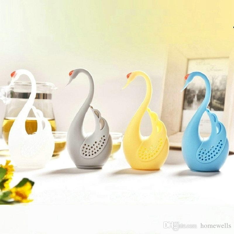 New 4 Colors Nolvety Gift Swan Spoon Tea Strainer Infuser Teaspoon Filter Creative Silicone Tea Strainers Tools Kitchen Accessories