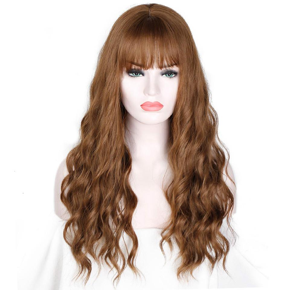 """26 """"lange Haare Frauen Perücken mit Pony Wasser Welle hitzebeständige synthetische Perücken für Frauen Afroamerikaner"""