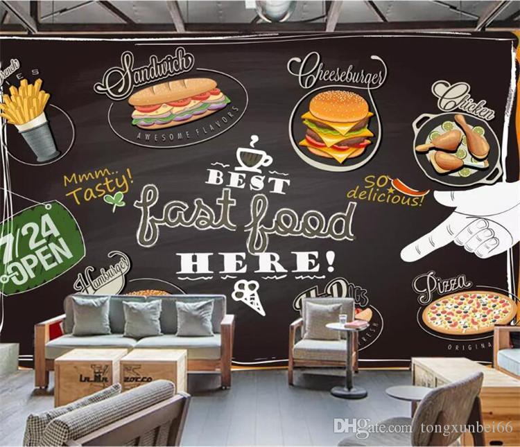 Custom Photo Handpainted Pizza Burger Fried Chicken Gourmet Wallpaper Fast Food Restaurant Tea Shop Personality Wallpaper Wallpapert Wide Desktop