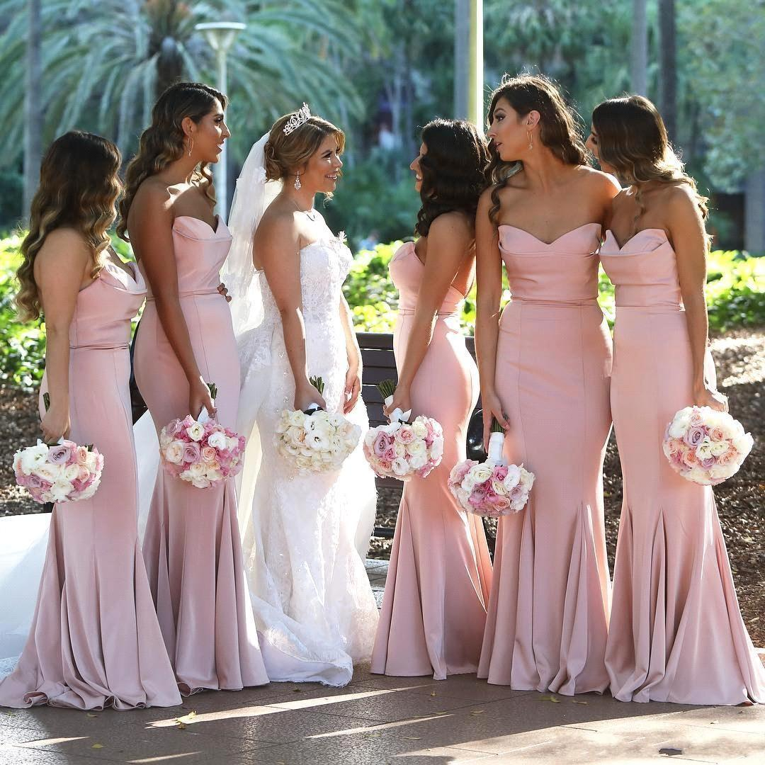 Cheap Blush Pink Sweetheart Satin Mermaid Long Bridesmaid Dresses Ruched Floor Length Wedding Guest Long Maid Of Honor Dresses BM0732