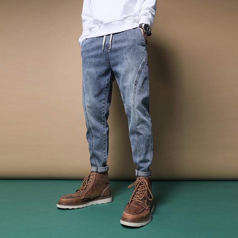 QMGOOD 2020 New High Street Fashion Men Мужские джинсы Брюки Wash Denim Сыпучие Fit шаровары пят Brand Jeans