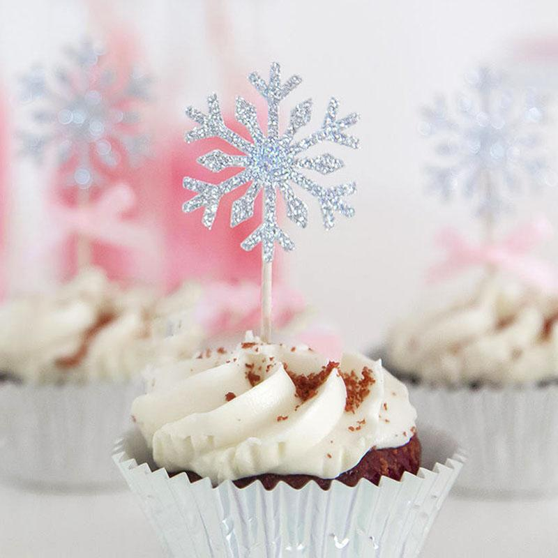 30pcs Snowflake Cupcake Cake Glitter Paper Topper 2020 Happy New Year 2019 Merry Christmas Eve Decorations For Home Ornaments