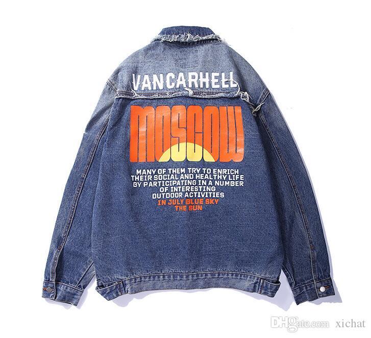 Benzersiz Vintage Erkekler Yırtık Baskılı Denim Pamuk Jean Ceket Tasarımcı Mont Hip Hop Rahat Kot Ceketler Tasarımcı Erkek Moda Streetwear