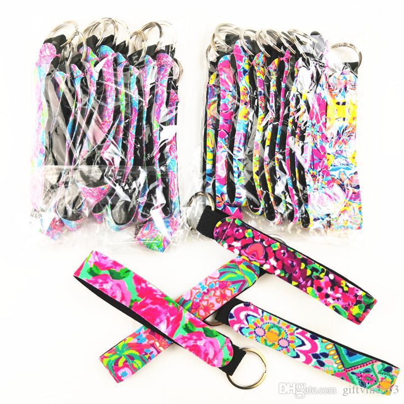 Neoprene Wristlet Keychains Lanyard Colorful Prints Key Fob Rose Flower Sea Printed Soft Key Chain Keyrings Holder Fashion Gifts