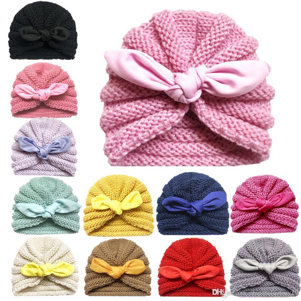 12 Renkler Bebek Şapka Bunny Kulak Örme Beanie Çocuk Kış Tığ Moda Sıcak Beanie Açık Caps Şapka