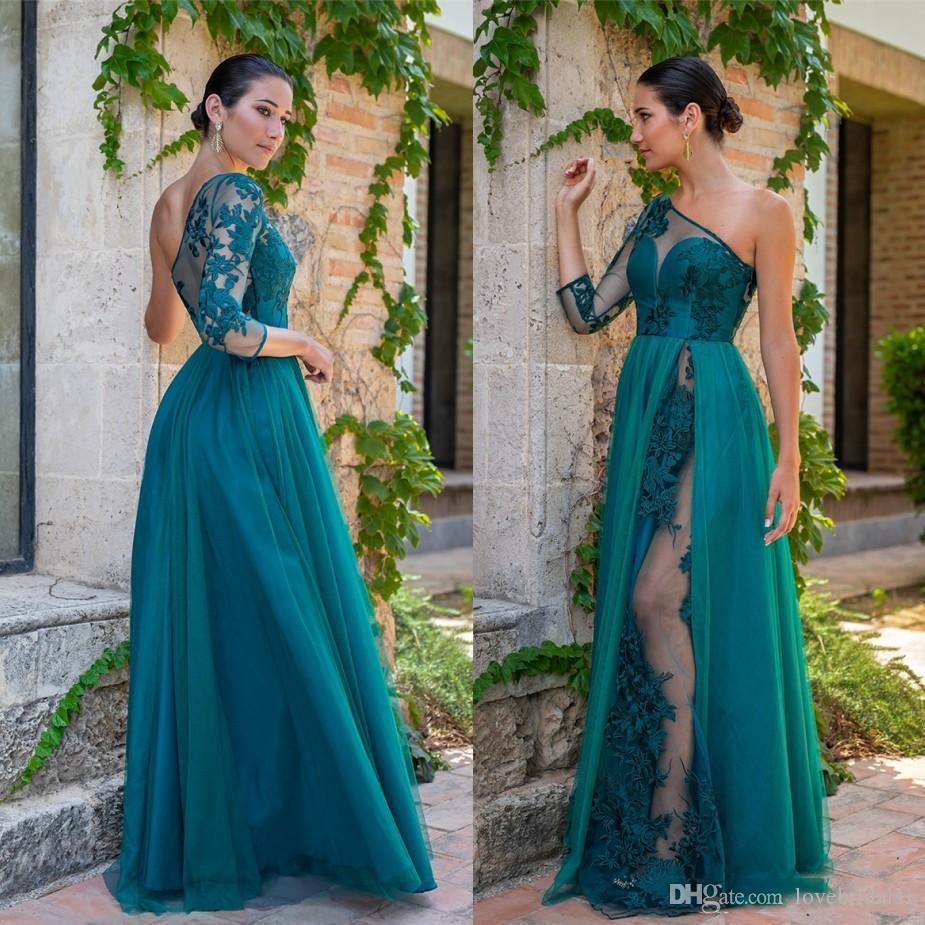 Elégant épaule robes Hunter longue de soirée pas cher de dentelle Appliqued longue Longueur de plancher sexy robes de soirée