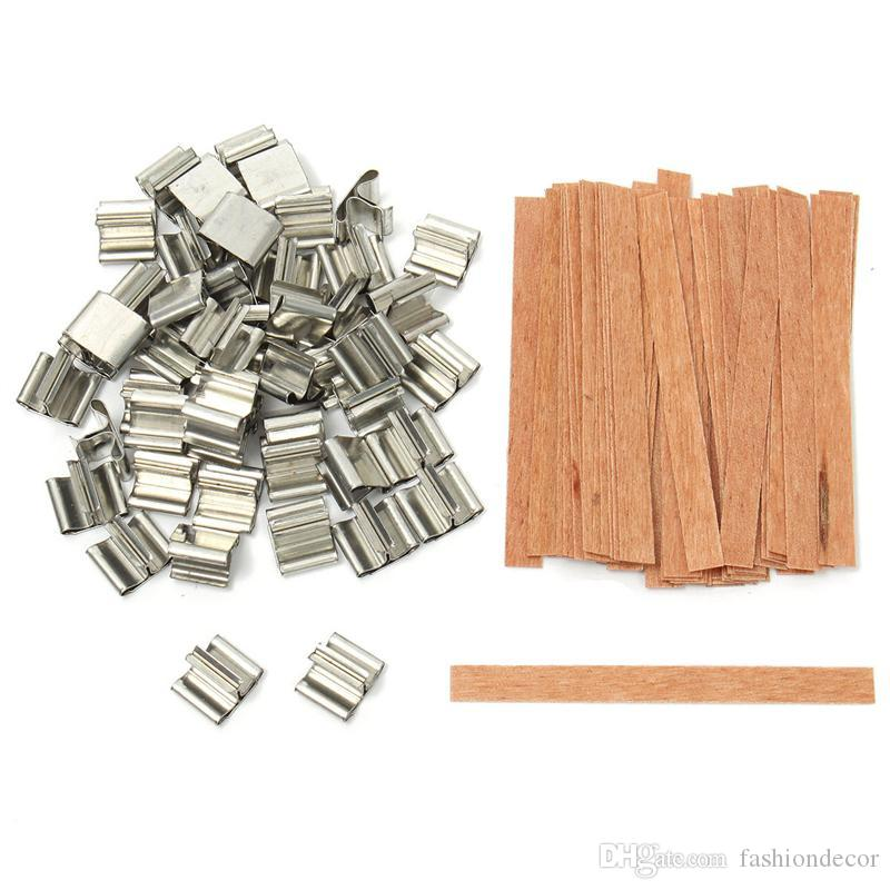 50Pcs/lot 6mm 8mm 12.5mm 13mm Wooden Candles Wick with Sustainer Tab Candle Wick Core for Candle Making Supply Soy Parffin Wax