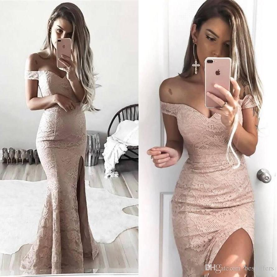 2019 Dusty Pink Off the Shoulder Mermaid Prom Dresses Full Lace Thigh High Split Evening Gowns Sexy Long Formal Party Wear Bridesmaid Dress