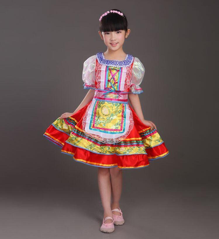 Vêtements ethniques Filles russes Costume de danse traditionnelle classique Coupe Kawaii Princess Stage Robes Performance pour les enfants 09