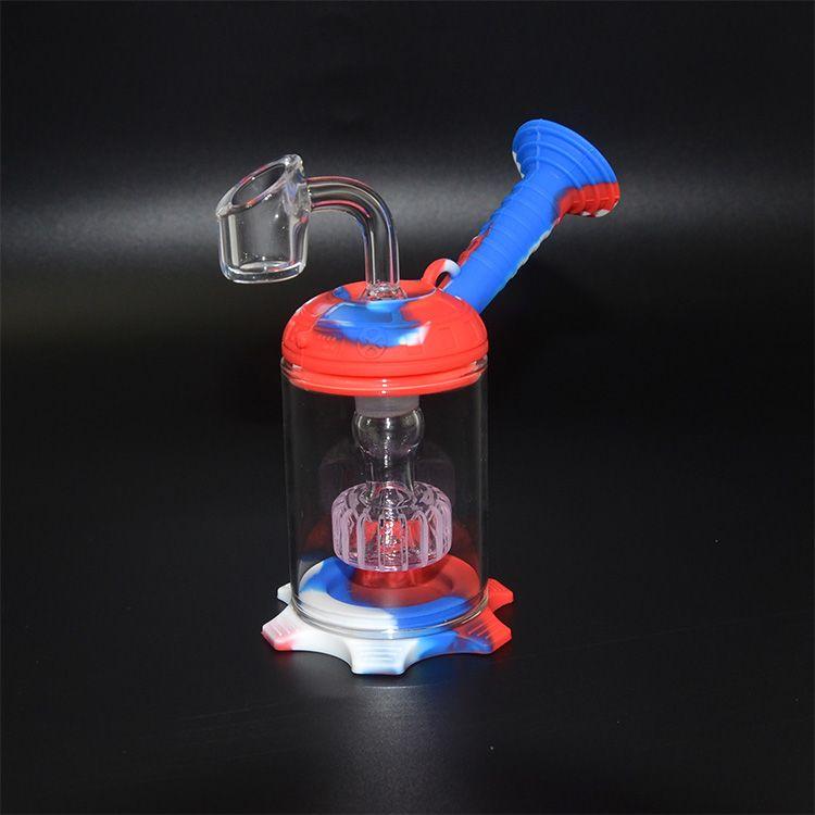 Portátil de 6 polegadas Hookah da tubulação de água Bong Unbreakable Silicone Dab Oil Concentrate Rig Tubulação de fumo com 5 ml Wax Container and Nail Titanium