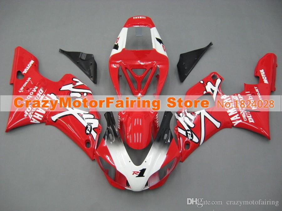 4 Gifts New Style ABS Mold motor Fairings Kits Fit For YAMAHA YZF-R1-1000 1998-1999 98 99 Fairing bodywork Set Custom red white Nice