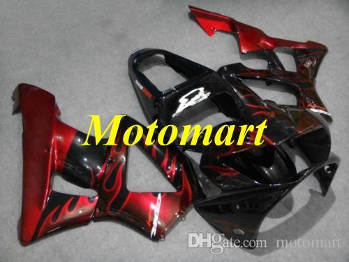 Kit de rebarba para HONDA CBR900RR 929 00 01 CBR 900RR 2000 2001 ABS Chamas vermelhas preto Carenagens + presentes HD13