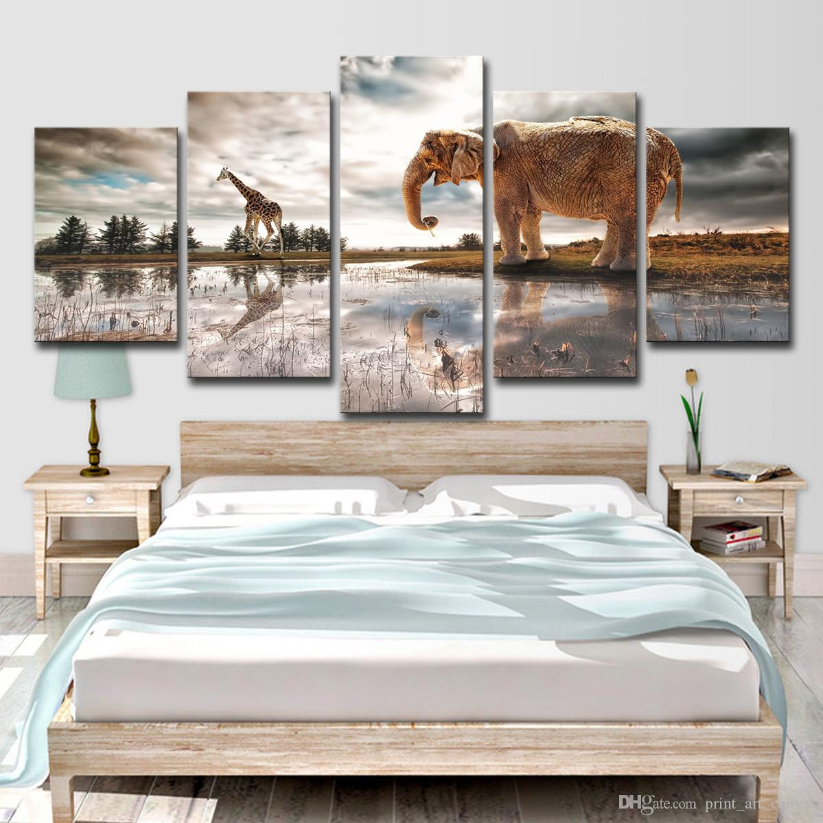 2020 Hd Printed Elephant And Giraffe Painting Canvas Print Room Decor Print Poster Picture Canvas From Print Art Canvas 13 95 Dhgate Com