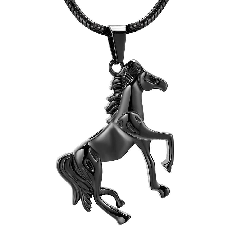 h10072 Memorial Running Horse Crémation noir en acier inoxydable Pendentif pour Ashes Urn Collier Keepsake pour les hommes Bijoux