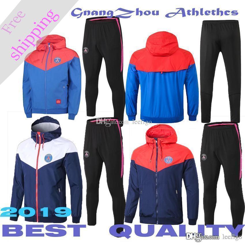 19 Paris cremallera cortaviento chaqueta abrigo psg Rojo y azul deportes rompevientos sudadera con capucha