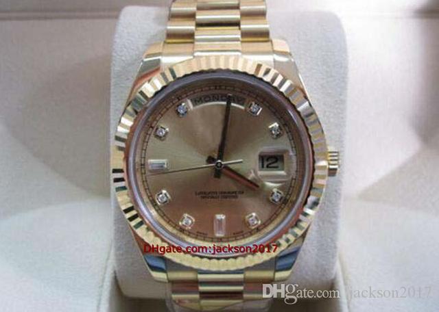 Рождественский подарок Высококачественные наручные часы Мужские часы 218238 Л.Л. Желтое золото президент шампанского алмазного набора