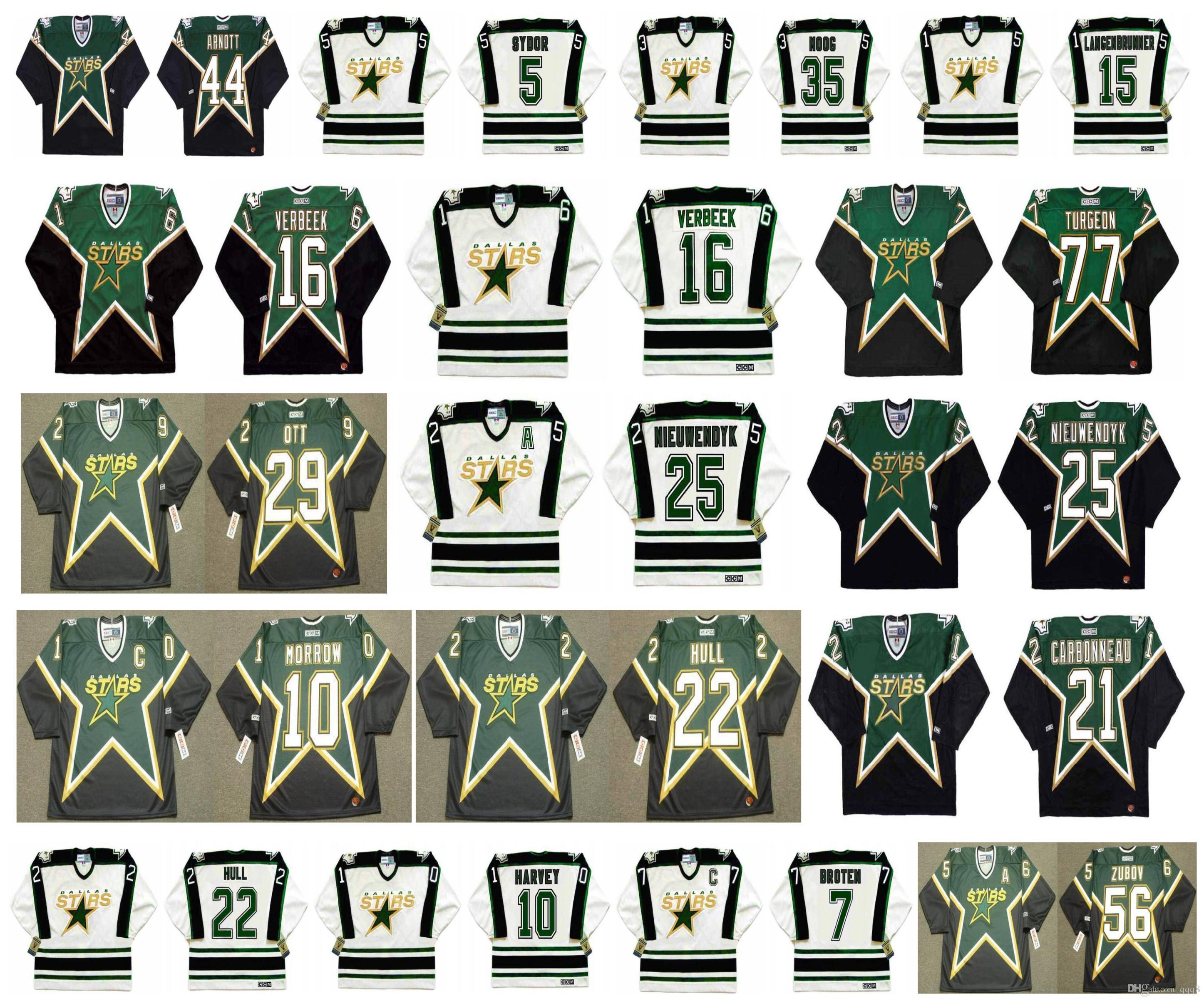 Camisa Dallas Stars Vintage 21 CARY CARBONNEAU 44 JASON ARNOTT 5 DARRYL SYDOR 35 ANDY MOOG 15 JAMIE LANGENBRUNNER 10 TODD HARVEY Retro Hockey