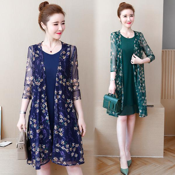 Floral Printed Chiffon Dress Suits Women Mother of Bride Wedding Guest Plus Size Three Quarter Sleeve Knee Length Two Piece Set