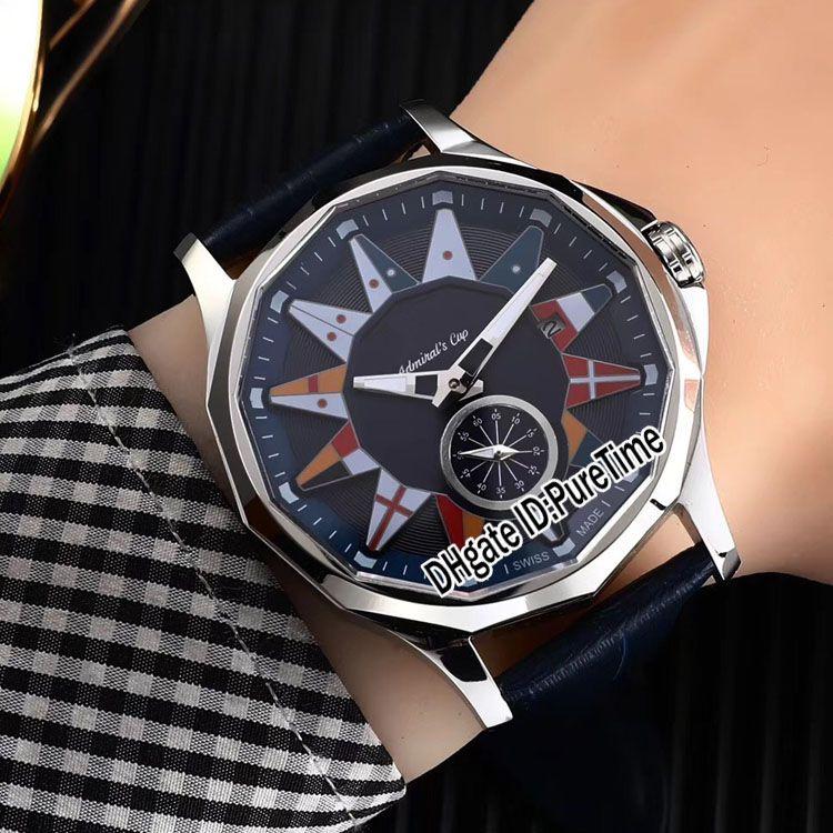 Кубок Admiral'S LEGEND 42 A395 / 03155-395.101.20 / F371 AA12 Стальной корпус Черный циферблат Автоматические мужские часы Кожаные спортивные часы Sapphire C-5b2