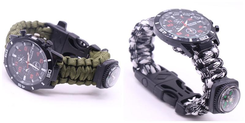 EDC Multi Tools Tactical Camouflage Outdoor survival watch bracelet compass Rescue Rope paracord Camping equipment (13)