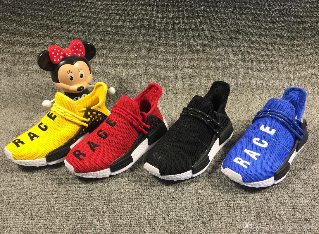 best sneakers d740c c3409 2019 2019 Kids Human Race Pharrell Williams Hu Trail NERD Boys Girls  Running Shoes XR1 Black Nerd Children Designer Sneakers Sports Shoes From  ...