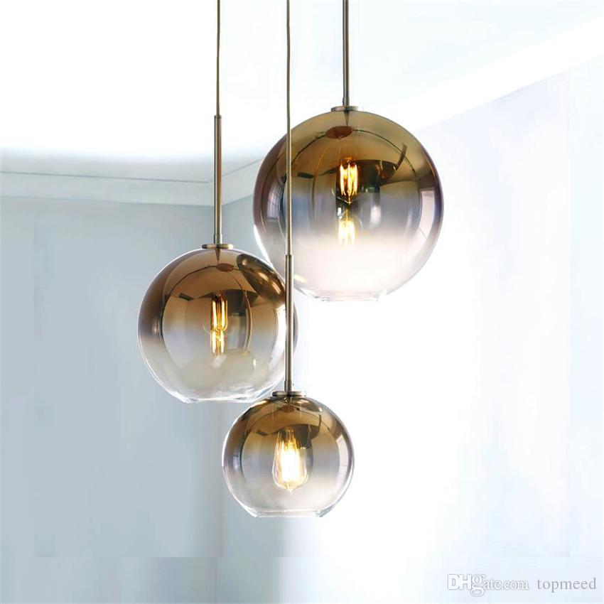 Nórdico LEVOU Pingente de Luz LightingtSilver Ouro Pingente De Vidro Lâmpada Bola Pendurado Luminárias de Cozinha Sala de Jantar Sala de estar Luminária led luz