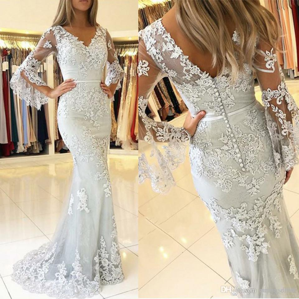 Пользовательские серебряные Julit с длинными рукавами кружева русалка выпускные платья 2021 с аппликациями развертывающие поездки формальные вечерние платья вечеринки