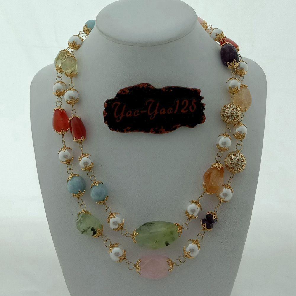 Collar de cristal de rosa con piedra de gemas de perlas de concha de mar de 40 '' para mujeres