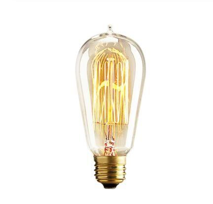 레트로 에디슨 전구 E27 25W 40W 60W ST64 230V 백열 전구 필라멘트 전구 빈티지 Edison 빛 펜던트 램프 Fot 카페 상점
