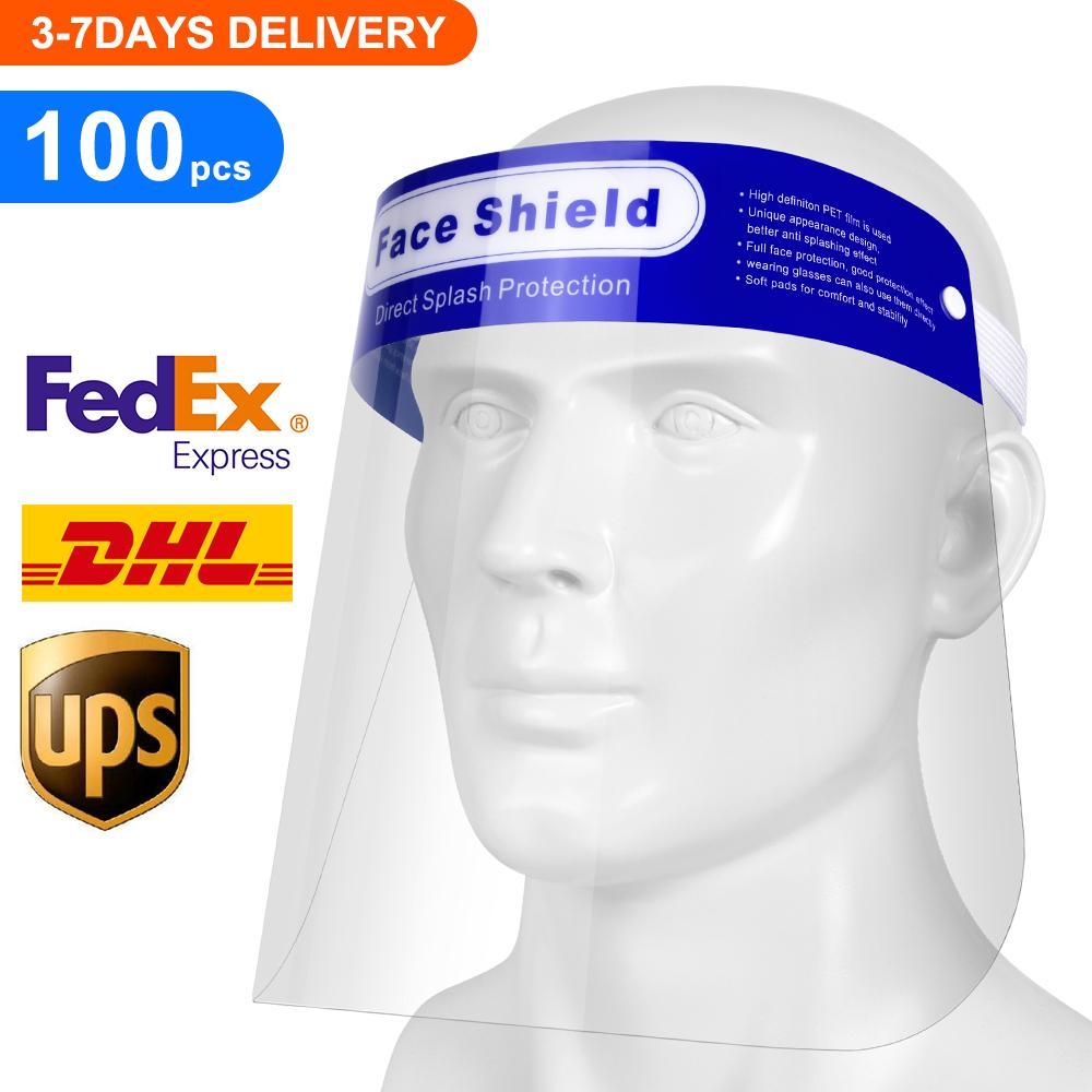 100PCS / 많은 지우기 풀 페이스 쉴드 보호, 투명 통기성 일회용 안전 플라스틱 풀 페이스 실드를 들어 남성 및 여성