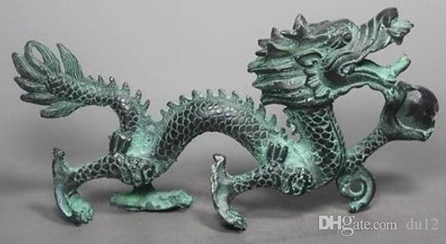 Chinesische Bronze Handarbeit Drachen Statue # 9 Statue Gartendekoration 100% echte Messingbronze