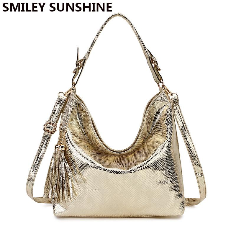 Gold Fashion Women Leather Handbags Female Shoulder Bag Ladies Hand Bags Purses And Handbags Gold Crossbody Bag For Women 2019 Y19061705
