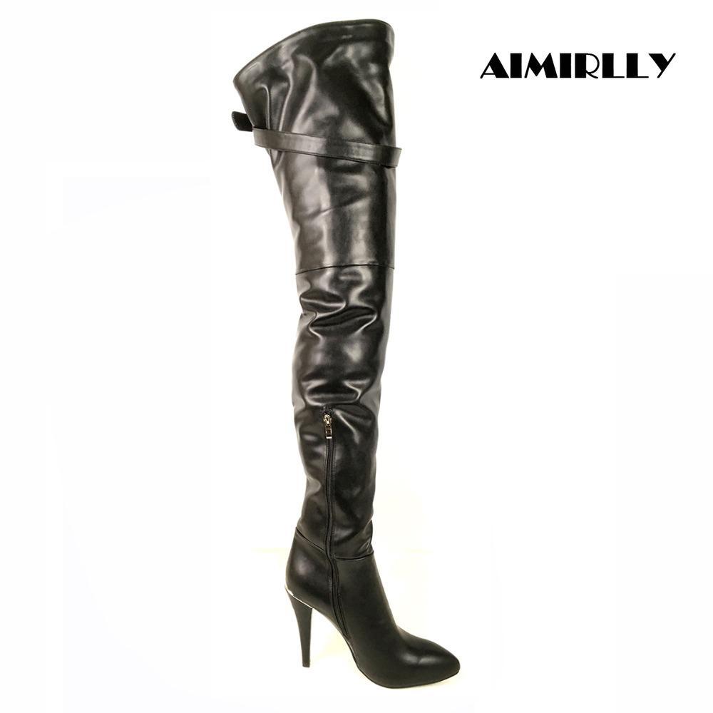 Stivali Donna Scarpe a punta tacco alto a metà coscia sopra il ginocchio stivali cerniera laterale della coscia Buckle Stiletto Big Size Nero