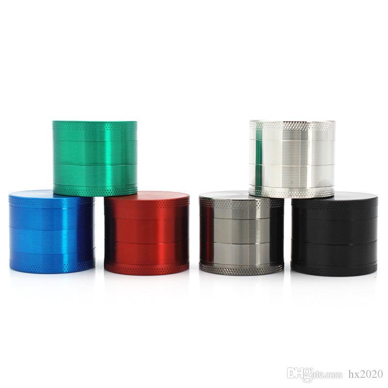 높은 품질 분쇄기 허브 그라인더 금속 아연 합금 담배 허브 그라인더 4 층 40mm 직경 6 색 무지개 JXW540
