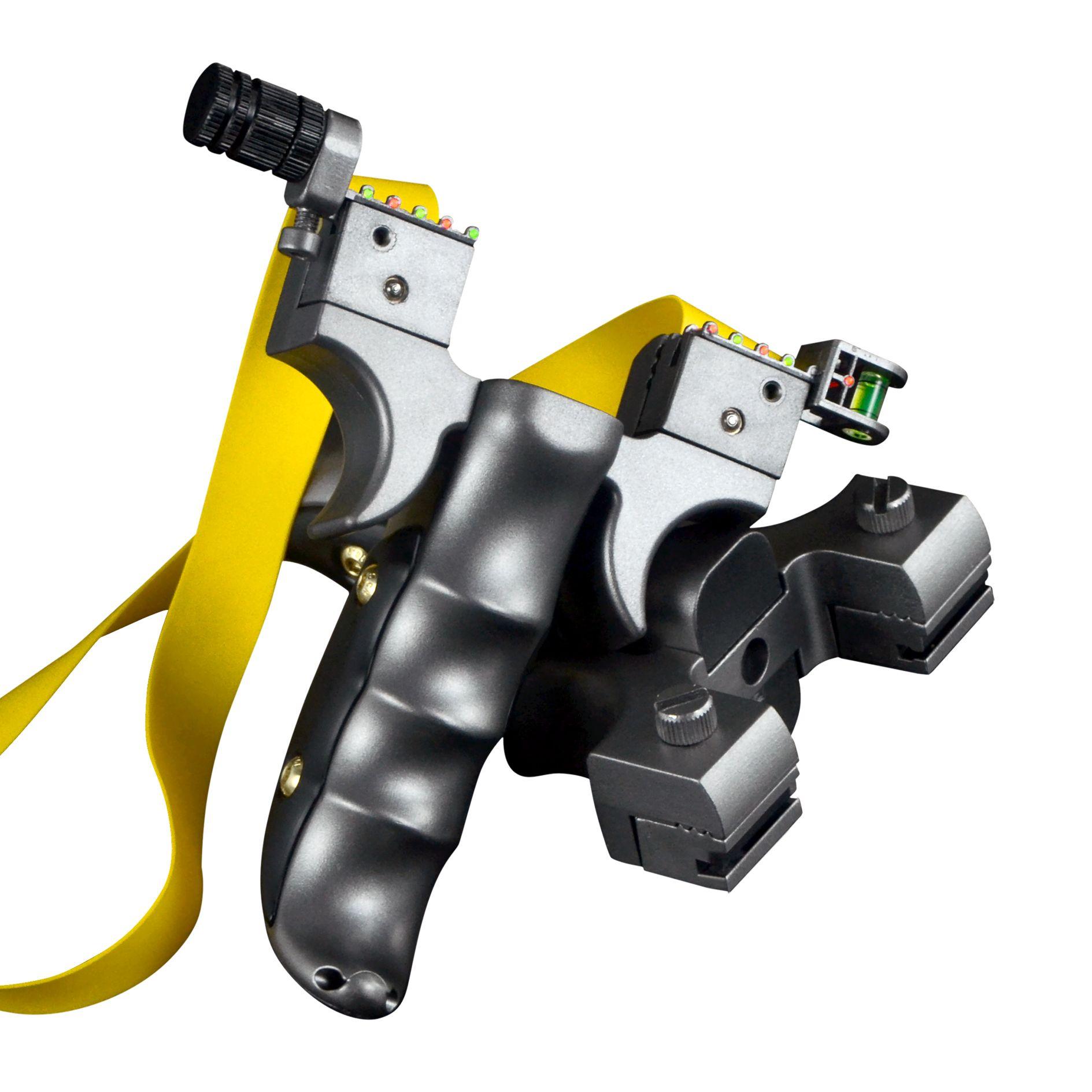 블랙 수지 사냥 새총 투석기 양궁 슬링 레벨 미터 시력 램프가 평면 고무 밴드 포인트를 목표로 야외 Slingbow 샷