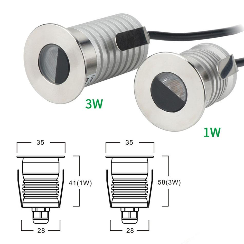 NEW Mini LED Buried Embedded In-ground Outdoor Light 1W 3W DC12V IP67 Square Spotlight Energy saving lamp Warm white Nature white Cold white