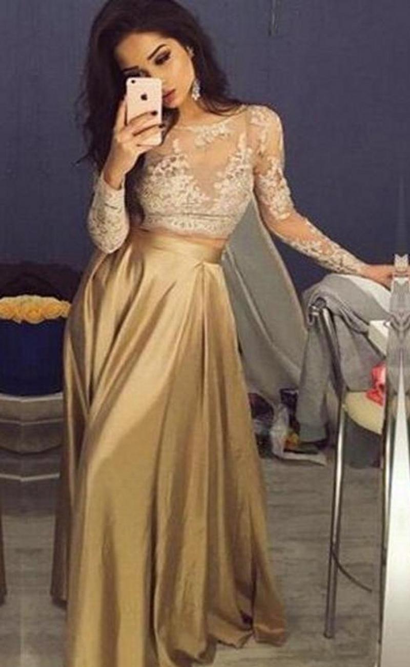 Großhandel Schöne Spitze Lange Hülsen Gold Zweiteilige Abendkleider 11  Satin Günstige Abendkleider Sheer Goldene Mutter Der Braut Partei Kleider